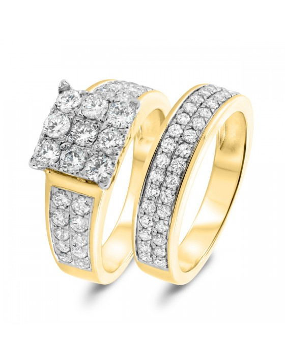 1 7/8 Carat T.W. Diamond Matching Bridal Ring Set 10K Yellow Gold