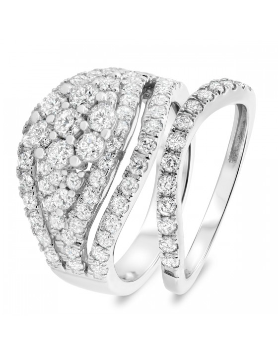 2 1/3 Carat T.W. Diamond Matching Bridal Ring Set 10K White Gold
