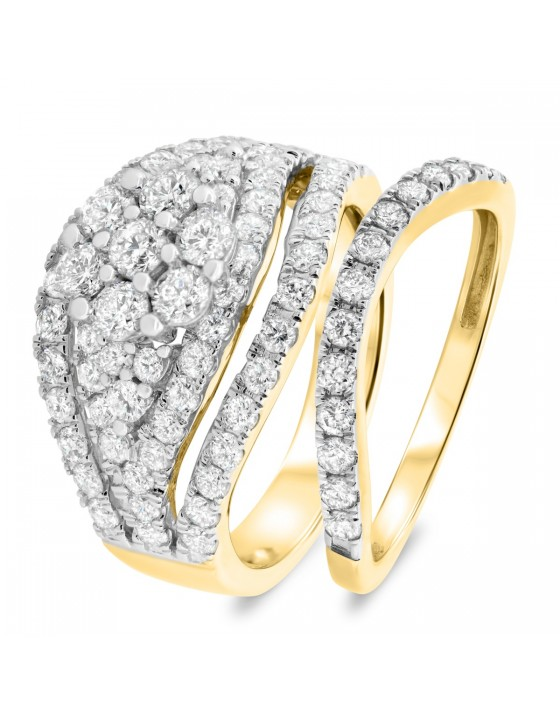 2 1/3 CT. T.W. Diamond Matching Bridal Ring Set 10K Yellow Gold