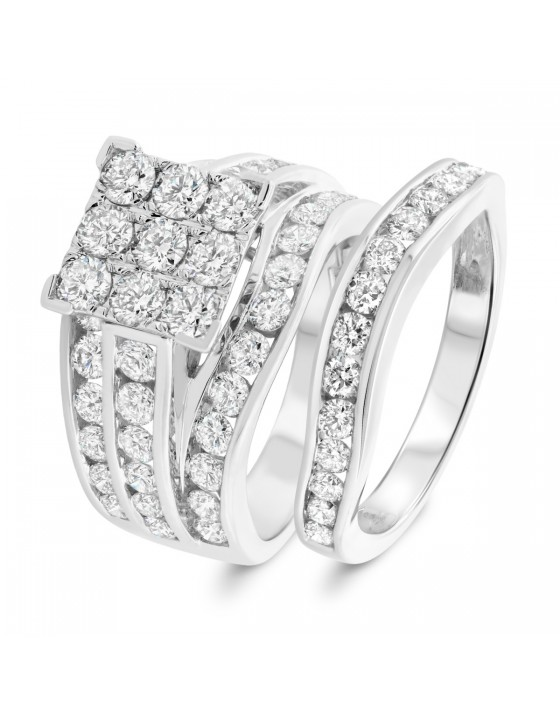 3 1/2 Carat T.W. Diamond Matching Bridal Ring Set 14K White Gold