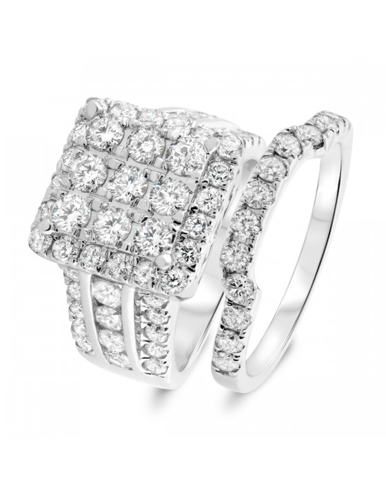 3 3/8 CT. T.W. Diamond Matching Bridal Ring Set 14K White Gold