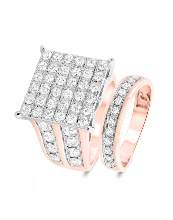 3 3/8 Carat T.W. Diamond Matching Bridal Ring Set 14K Rose Gold