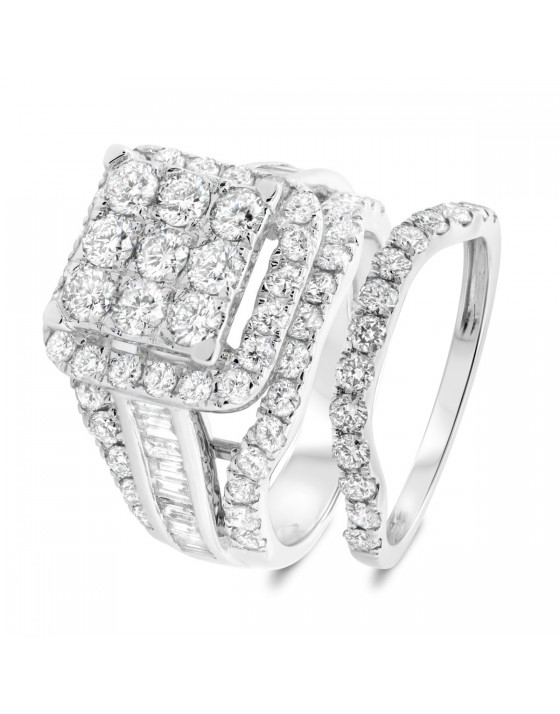 3 5/8 Carat T.W. Diamond Matching Bridal Ring Set 10K White Gold