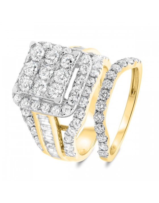 3 5/8 CT. T.W. Diamond Matching Bridal Ring Set 10K Yellow Gold