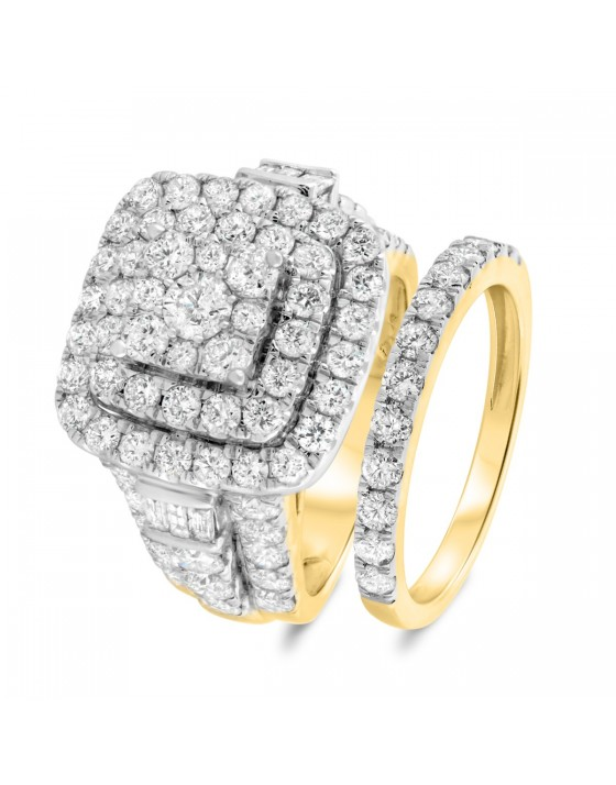 4 3/8 Carat T.W. Diamond Matching Bridal Ring Set 10K Yellow Gold