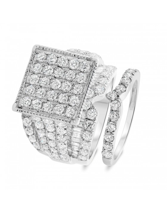 4 2/3 CT. T.W. Diamond Matching Bridal Ring Set 10K White Gold