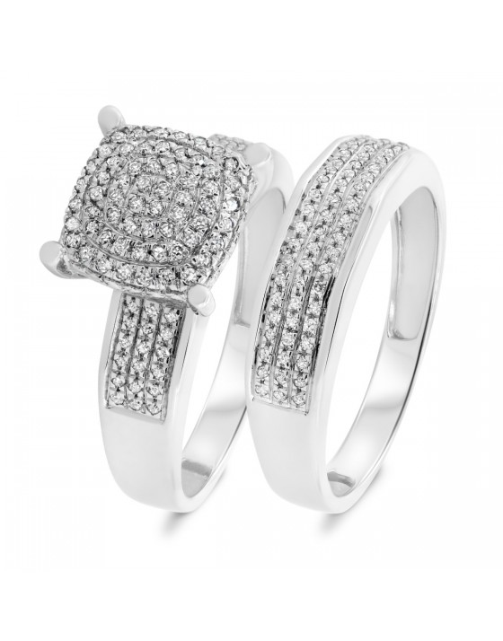 3/8 CT. T.W. Diamond Matching Bridal Ring Set 10K White Gold