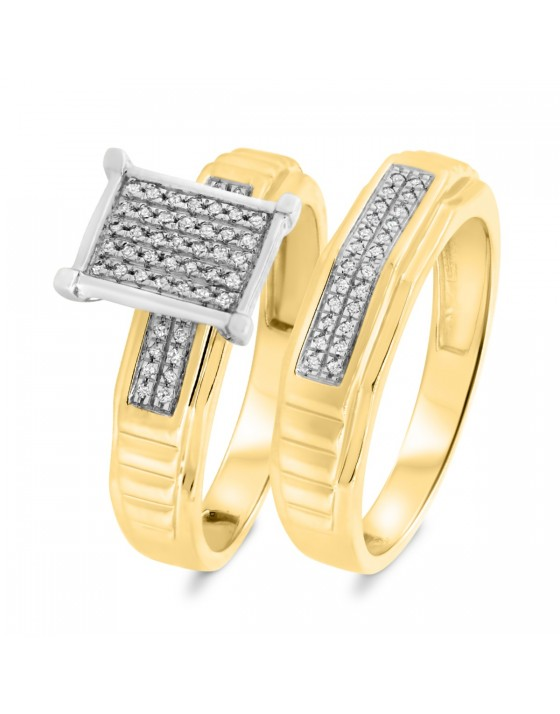 1/5 CT. T.W. Diamond Matching Bridal Ring Set 14K Yellow Gold