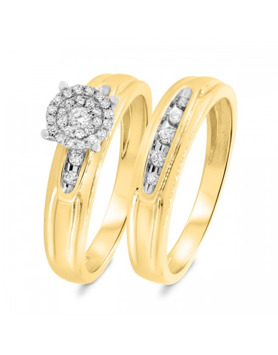 1/4 Carat T.W. Diamond Matching Bridal Ring Set 14K Yellow Gold