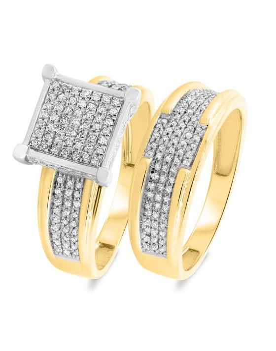 3/8 Carat T.W. Diamond Matching Bridal Ring Set 10K Yellow Gold