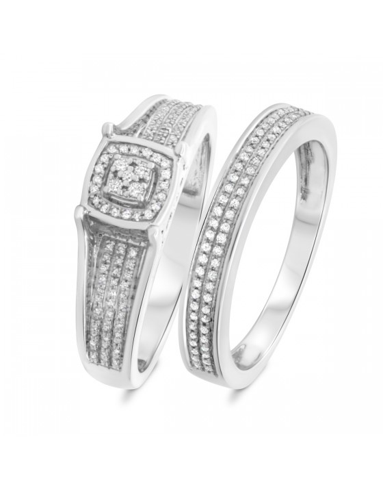 1/3 Carat T.W. Diamond Matching Bridal Ring Set 14K White Gold