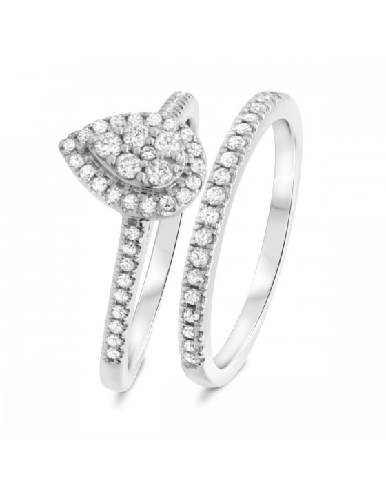 3/4 CT. T.W. Diamond Matching Bridal Ring Set 10K White Gold