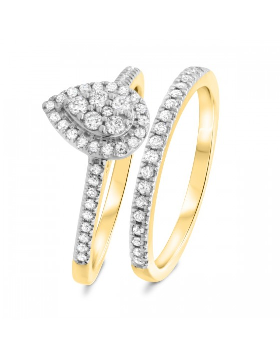 3/4 CT. T.W. Diamond Matching Bridal Ring Set 14K Yellow Gold