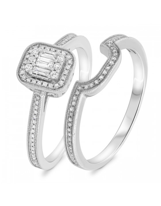 3/8 Carat T.W. Diamond Matching Bridal Ring Set 10K White Gold