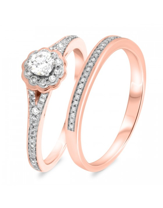 3/8 CT. T.W. Diamond Matching Bridal Ring Set 14K Rose Gold
