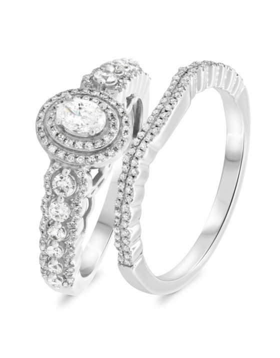 7/8 CT. T.W. Diamond Matching Bridal Ring Set 10K White Gold