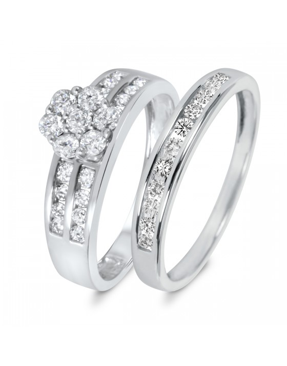 7/8 CT. T.W. Diamond Women's Bridal Wedding Ring Set 14K White Gold