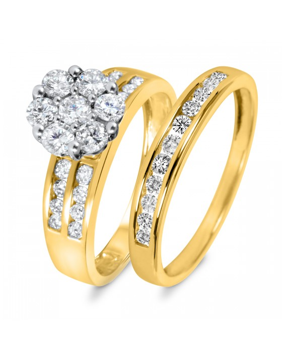 1 1/5 CT. T.W. Diamond Women's Bridal Wedding Ring Set 10K Yellow Gold