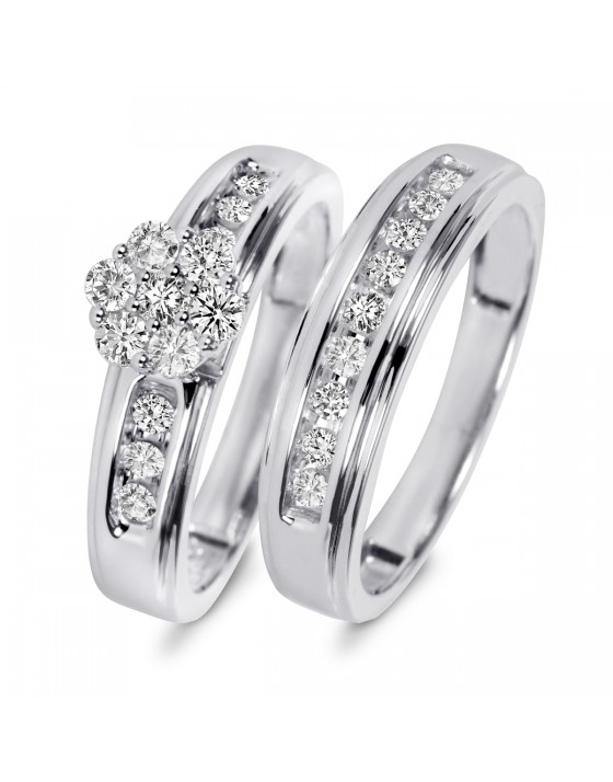 5/8 Carat T.W. Diamond Ladies' Bridal Wedding Ring Set 14K White Gold