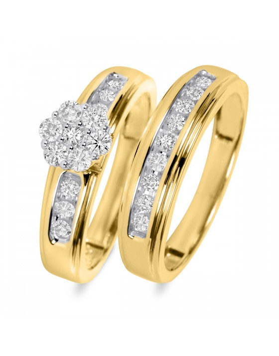 5/8 Carat T.W. Diamond Ladies' Bridal Wedding Ring Set 14K Yellow Gold