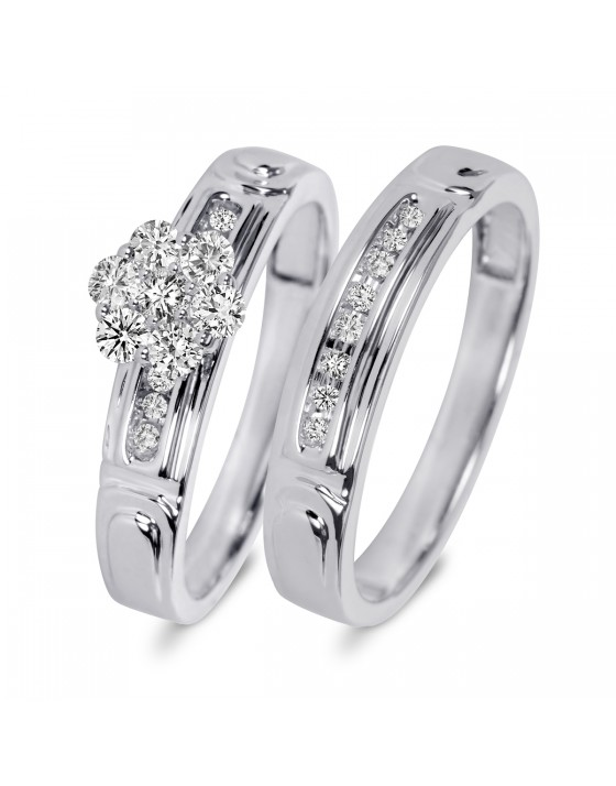 3/8 CT. T.W. Diamond Women's Bridal Wedding Ring Set 14K White Gold
