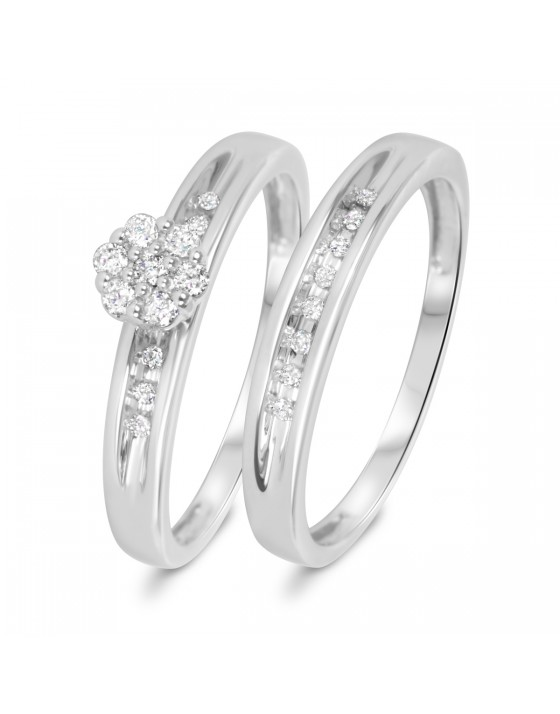 1/5 Carat T.W. Diamond Women's Bridal Wedding Ring Set 10K White Gold