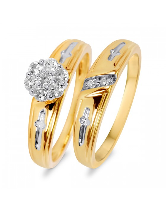 1/3 Carat T.W. Diamond Ladies' Bridal Wedding Ring Set 10K Yellow Gold
