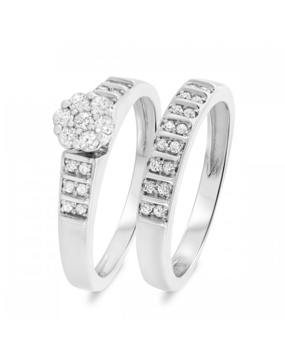 1/3 CT. T.W. Diamond Ladies' Bridal Wedding Ring Set 14K White Gold