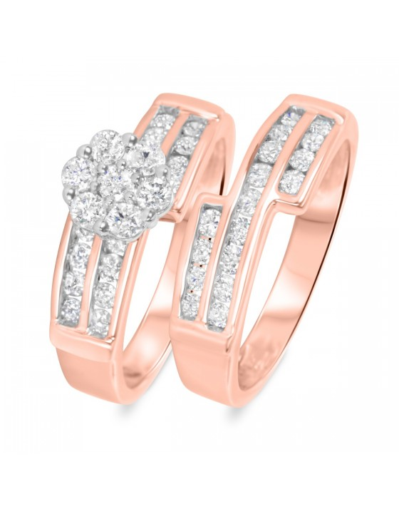 1 1/10 CT. T.W. Diamond Ladies' Bridal Wedding Ring Set 14K Rose Gold