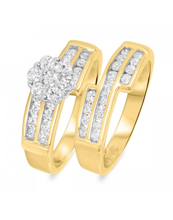 1 1/10 CT. T.W. Diamond Ladies' Bridal Wedding Ring Set 14K Yellow Gold