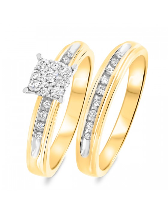 3/8 CT. T.W. Diamond Ladies' Bridal Wedding Ring Set 10K Yellow Gold