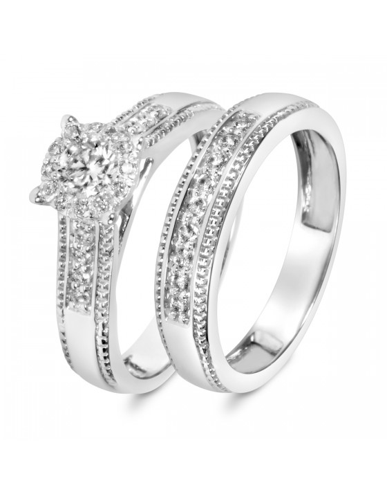 2/3 CT. T.W. Diamond Ladies' Bridal Wedding Ring Set 10K White Gold