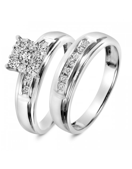 1/2 CT. T.W. Diamond Ladies' Bridal Wedding Ring Set 14K White Gold