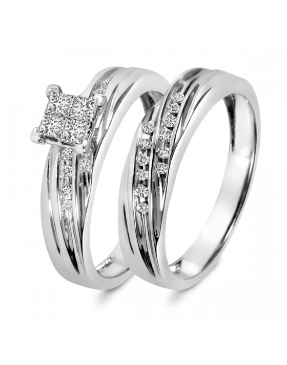 3/8 Carat T.W. Diamond Ladies' Bridal Wedding Ring Set 14K White Gold