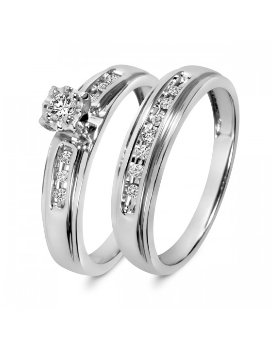 1/5 CT. T.W. Diamond Ladies' Bridal Wedding Ring Set 14K White Gold