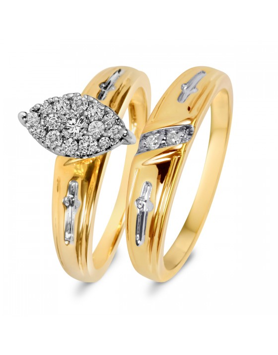 1/4 CT. T.W. Diamond Ladies' Bridal Wedding Ring Set 10K Yellow Gold