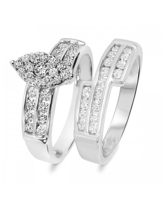 1 Carat T.W. Diamond Ladies' Bridal Wedding Ring Set 10K White Gold