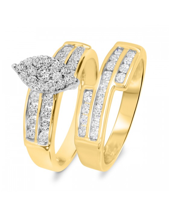 1 Carat T.W. Diamond Ladies' Bridal Wedding Ring Set 14K Yellow Gold