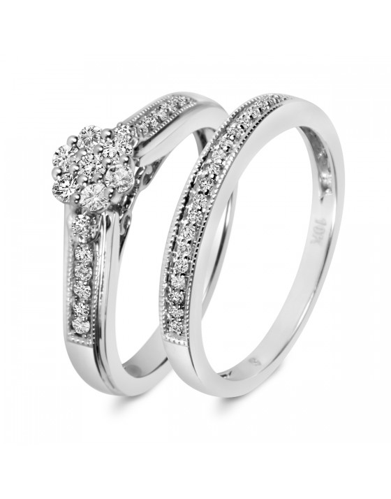 1/3 CT. T.W. Diamond Ladies' Bridal Wedding Ring Set 10K White Gold