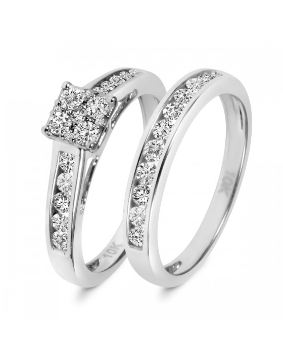 7/8 CT. T.W. Diamond Ladies' Bridal Wedding Ring Set 14K White Gold