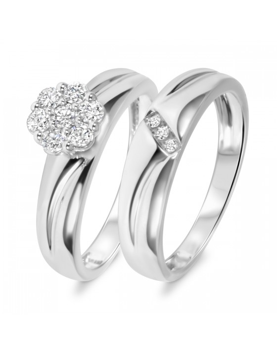 3/8 CT. T.W. Diamond Ladies' Bridal Wedding Ring Set 14K White Gold