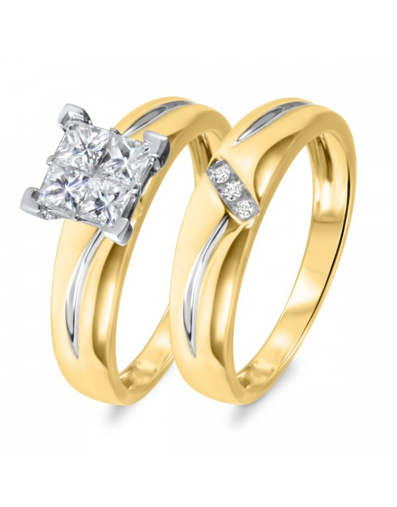 5/8 CT. T.W. Diamond Women's Bridal Wedding Ring Set 10K Yellow Gold