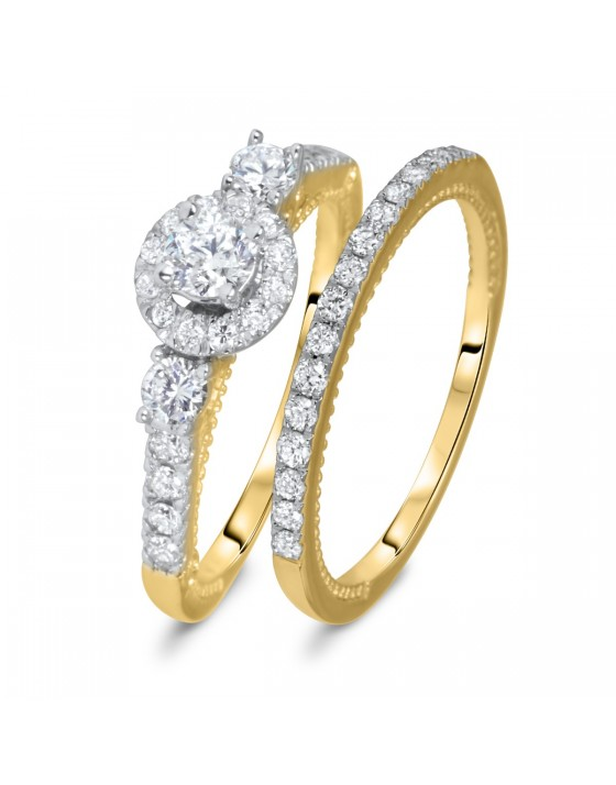 1 CT. T.W. Round Cut Diamond Ladies Bridal Wedding Ring Set 14K Yellow Gold