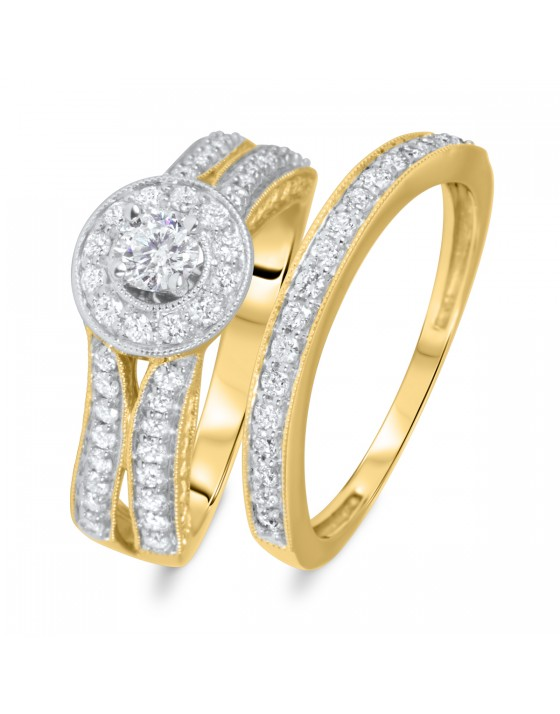 1 CT. T.W. Round Cut Diamond Ladies Bridal Wedding Ring Set 10K Yellow Gold