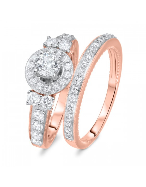 1 1/2 CT. T.W. Round Cut Diamond Ladies Bridal Wedding Ring Set 10K Rose Gold