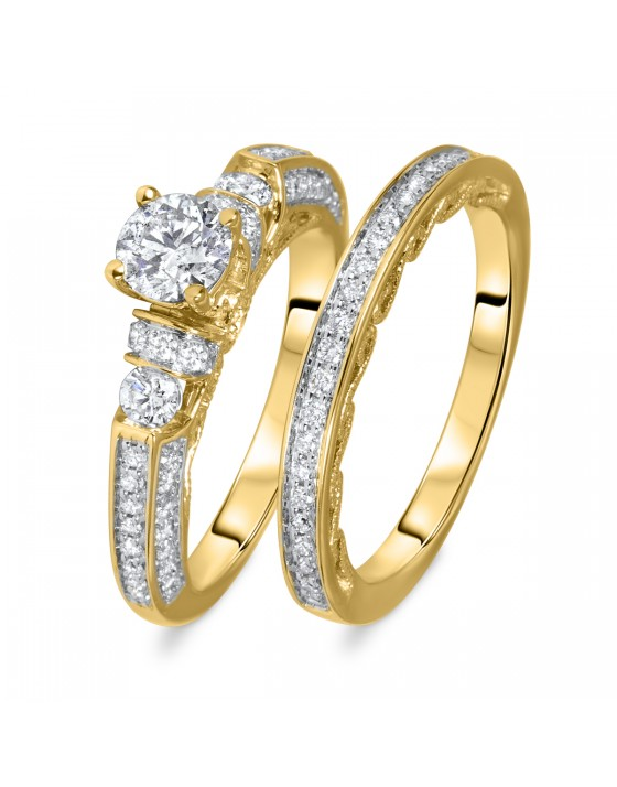 1 1/4 CT. T.W. Round Cut Diamond Ladies Bridal Wedding Ring Set 14K Yellow Gold