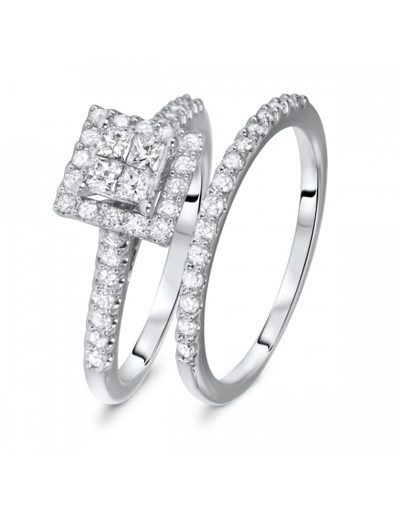 3/4 CT. T.W. Round, Princess Cut Diamond Ladies Bridal Ring Set 14K White Gold