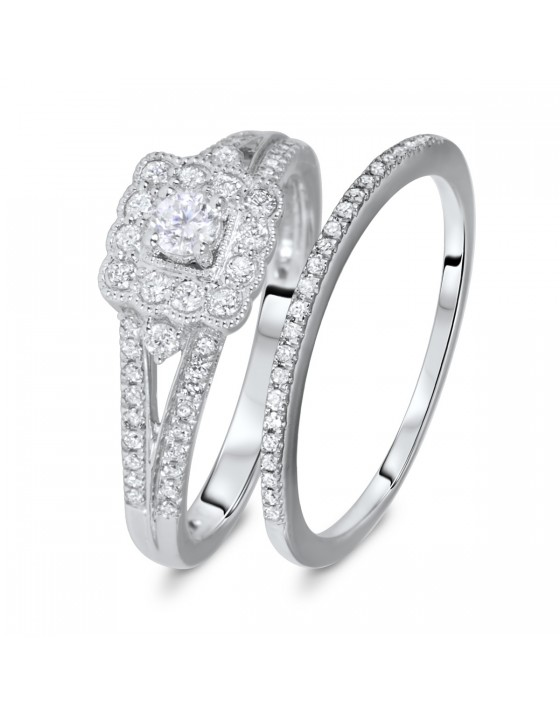 1/2 CT. T.W. Round Cut Diamond Ladies Bridal Wedding Ring Set 10K White Gold