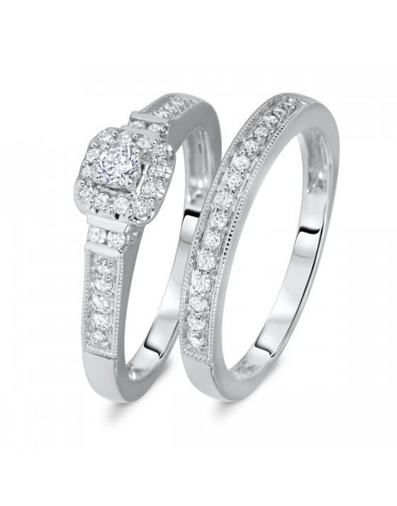 1/4 CT. T.W. Round, Princess Cut Diamond Ladies Bridal Ring Set 14K White Gold