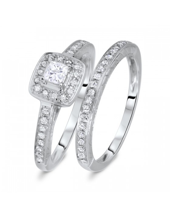 1/2 CT. T.W. Rounds Cut Diamond Ladies Bridal Wedding Ring Set 14K White Gold